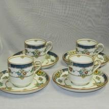 Minton Isis Blue Demitasse Espresso Cup & Saucer Birds On Branch 4 Sets D1006 - $112.95