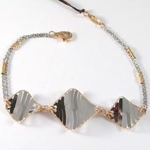 Bracelet White Gold Pink 18K 750, Rhombuses Wavy,Finely Worked, Italy image 1