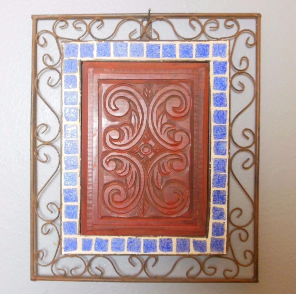 Vintage Wall Hanging Metal Wood and Tile 12 x 14""