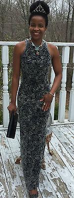 Couture Oleg Cassini Neiman Marcus black Heavy glass beaded long dress gown XS-2 - $1,599.99