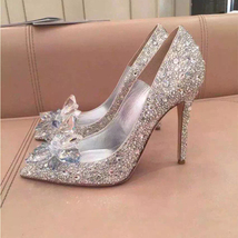 Silver Wedding Shoes Swarovski glitter Gems Flower bridal ponited toe heels Shoe image 2