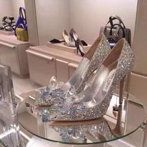 Silver Wedding Shoes Swarovski glitter Gems Flower bridal ponited toe heels Shoe image 3