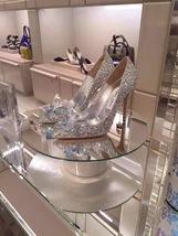 Silver Wedding Shoes Swarovski glitter Gems Flower bridal ponited toe heels Shoe image 4