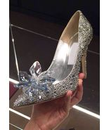 Silver Wedding Shoes Swarovski glitter Gems Flower bridal ponited toe he... - $125.00