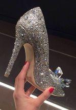 Silver Wedding Shoes Swarovski glitter Gems Flower bridal ponited toe heels Shoe image 6