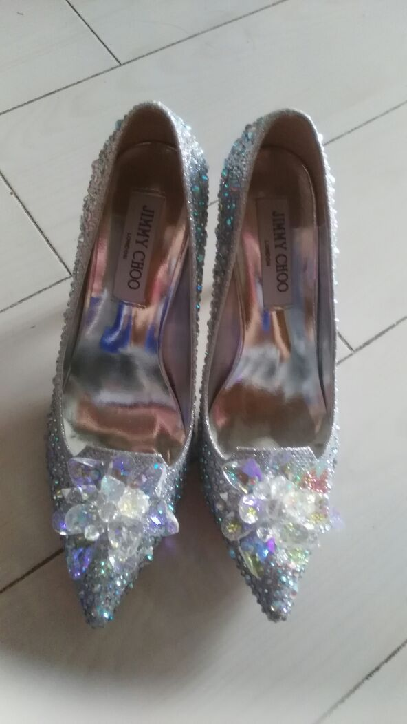 Silver Wedding Shoes Swarovski glitter Gems Flower bridal ponited toe heels Shoe