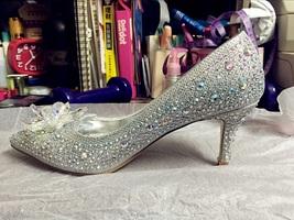 Silver Wedding Shoes Swarovski glitter Gems Flower bridal ponited toe heels Shoe image 8