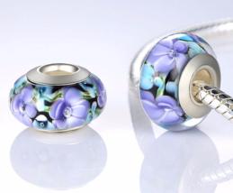 S925 Sterling Silver Lampwork Murano Glass Beads Fits European Charm Bra... - $5.00