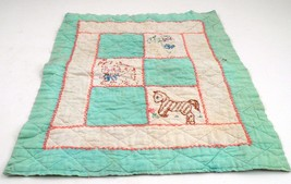 """1940s Prim Shabby 19""""X15"""" Handmade Doll Blanket Quilt w/ Embroidered Ani... - $11.53"""