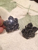 Vintage Hematite Austrian Crystal Flower Button Clip Earrings - $60.78