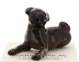 Hagen-Renaker Miniature Ceramic Dog Figurine Pug Black Mama Sitting and Baby Pup image 3