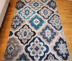 8x10 Modern Panal Floral Diamond Area Rug Blue Beige Navy Grey Aqua Teal... - $89.95