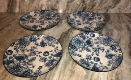 "Royal Norfolk 10 1/2"" Dinner Plates Set Of 4 Blue/White Flower Print-NEW... - $48.88"