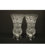 Pair of Anna Hutte Bleikristall  7 .5 Inch Lead Crystal Vases ~ Germany  - $17.50