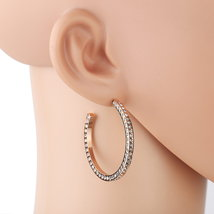 UNITED ELEGANCE Rose Tone Hoop Earrings With Sparkling Swarovski Style C... - $19.99