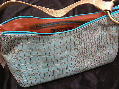 799d09dff5c4 Chi by Carlos Falchi Turquoise Gold Snakeskin(Couro) Leather Large Hobo Bag