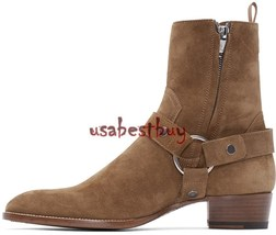 New Handmade Latest Style High Ankle Suede Leather Brown Boots, Men Sued... - $4.720,26 MXN+
