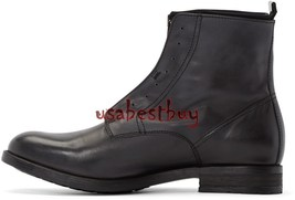 New Handmade Latest Style Ankle Black Pure Leather Boots, Men real leath... - $199.00+
