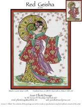 Red Geisha JE053 cross stitch chart Joan Elliott Designs - $14.00