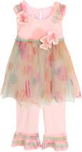 Little Girls Watercolor Dot Print Mesh Dress/Pant Set, Isobella & Chloe