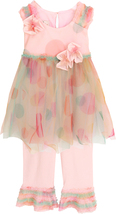 Baby Girls Watercolor Dot Print Mesh Dress/Pant Set, Isobella & Chloe