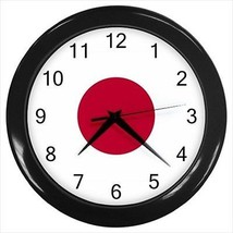 Japan Wall Clock (Black) - Japanese Flag - £12.52 GBP