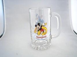 Disneyland 45 Years of Magic, Glass Beer Stein Mug, Castle Tinkerbelle & Mickey - $29.45