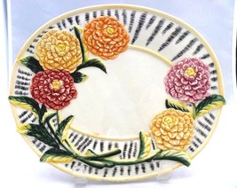 """Fits and Floyd Essentials, embossed Dahlia flowers OVAL 9 ¼"""" decorative plate - $8.45"""