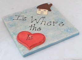Wall decor 3D ceramic tile 8x8 Home is where the hearth is by Laura Warner - $7.42