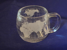 The Nestle Co Coffee Tea Mug World Grid Etched Glass replacment Collect... - $7.99