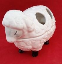 SLEEPING SHEEP WHITE PORCLEIAN TOOTHBRUSH HOLDER - $7.91
