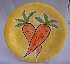"""Ceramic replacement 8"""" plate 2 carrots hand painted over yellow backgrou... - $4.91"""