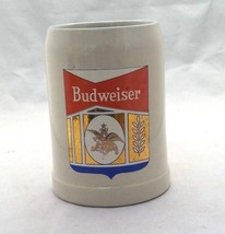 Budweiser collectible beer ceramic mug heavy stein gray red gold blue logo - $9.41