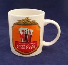 2000 drink coca cola mug Gibson two side label Orange olive red white light blu - $6.43