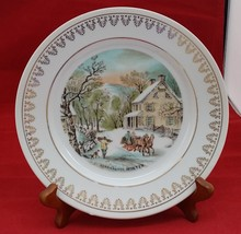 "Currier and Ives Winter vintage white porcelain plate with gold decor 8""... - $6.92"