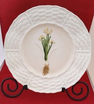 "Daffodils 3D white porcelain decorative 11""plate green brown yellow worl... - $8.99"