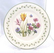 """Gibson  Everyday 10½"""" White plate, Tulips & Anemones, Green Trim Decoration - $6.95"""