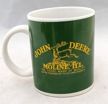JOHNE DEER MUG LICENSED PRODUCT MOLINE ILL BY GIBSON GREEN YELLOW WHITE - $5.93