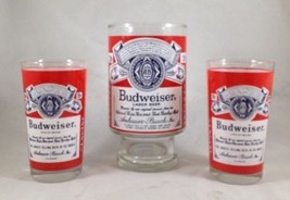 """Vintage Budweiser King Of Beers Drinking Glass Set of 3 - 2  5"""" and 1 Hu... - $29.69"""