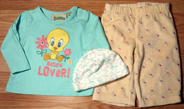 """Girl's Size 0-3 M Months 3 Pc Blue Tweety """"Nature Lover"""" Top, Floral Pan... - $10.00"""