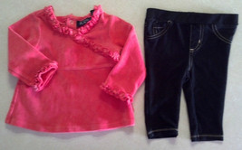 Girl's Size 6-9 M Months Two Piece Outfit TCP Pink Ruffle Top & Black Leggings - $18.25