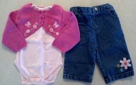 Girl's Sz 3-6 M Months 3 Pc Floral TCP Place Sweater Cardigan, Top & Denim Jeans - $20.00