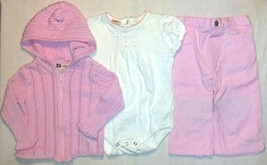 Girl's Size 6/9 M Months Pink 3 Piece Outfit Sweater, Top & Pants Faded Glory - $22.00