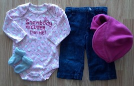 Girl's 3 Pc Sz 3-6 M Pink Gliiter Snowbody Cuter Than Me Top, Pants, Socks, Hat - $20.00