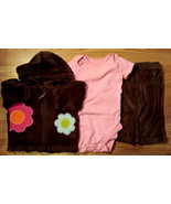 Girl's Size 3 M 0-3 Months 3 Pc Carter's Brown Velour Floral Jacket, Top... - $19.00