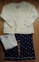 Girl's Size 12-18 M Months Cream Children's Place Cardigan, Top & Carter... - $22.00