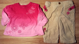 Girl's Size 6 M 3-6 Months 2 Pc Pink Floral Children's Place Top, Osh Kosh Pants - $18.50