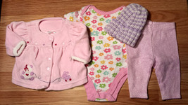 Girl's Size NB Newborn 4 Piece Pink Velour Carter's Bear Top, Shirt, Pan... - $16.00