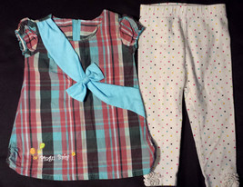 Girl's Size 12-18 M Months 2 Piece Pink/ Blue Plaid Pingu Baby Top W/ Bo... - $16.00