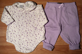 Girl's Size 3-6 M Months 2 Piece Cream Floral Mayfair Top & Purple F.Glory Pants - $10.50